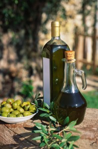 Fresh olives on table